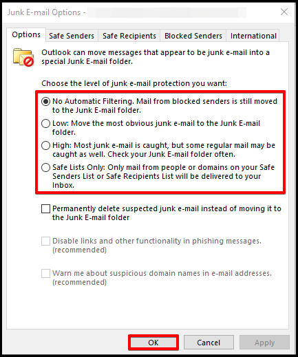 configure junk email options outlook desktop