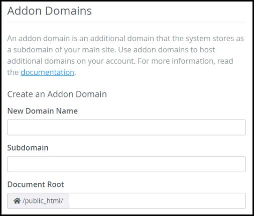 create an addon domain via hosting manager input field