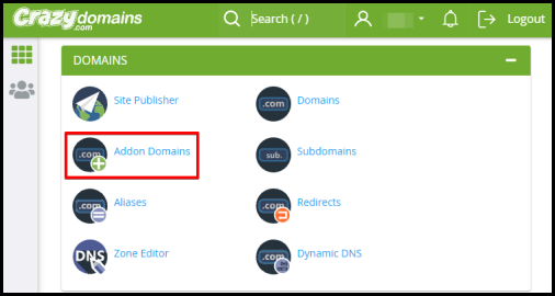 addon domain option in cpanel via hosting manager