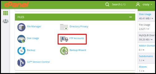 ftp accounts option cpanel