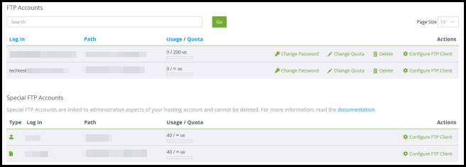ftp accounts and special ftp accounts cpanel