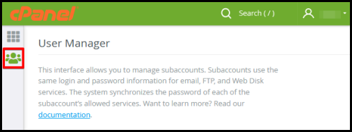 ftp access user management icon cpanel