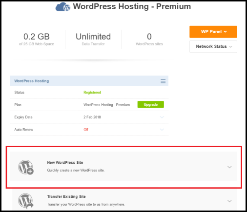 How to Add a new WordPress Site option using Crazy Domains WordPress Hosting