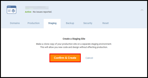 WordPress Hosting confirm and create staging button