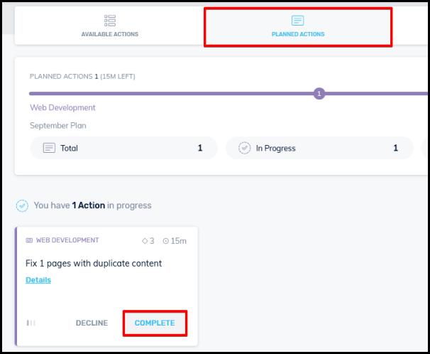 complete button on simple seo tool