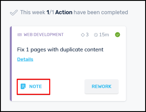 highlighting note link to edit or delete note on simple seo tool