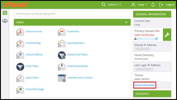 Web Hosting server specification right side panel menu
