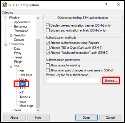 browse button to open downloaded PPK file from cPanel