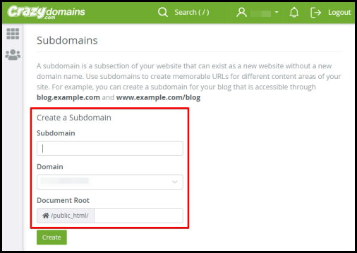 create a subdomain in your hosting account