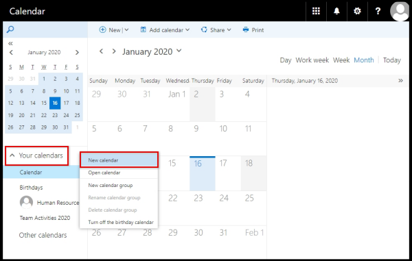 left side menu on OWA to create new calendar