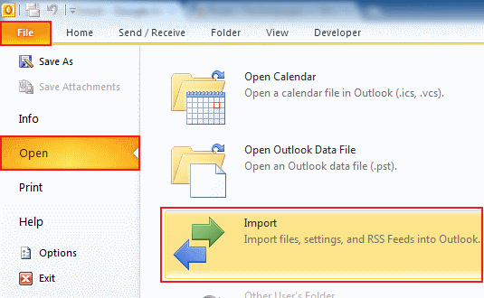 how to export data in Outlook 2010 step 2