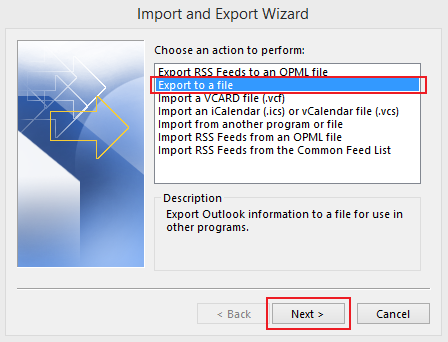 how to export data in Outlook 2013 step 3