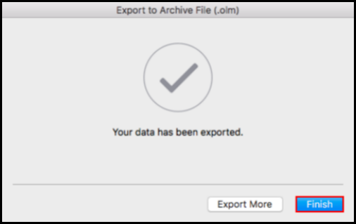 confirmation window export data on outlook for mac is complete