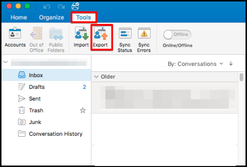 how to export data on outlook mac mail