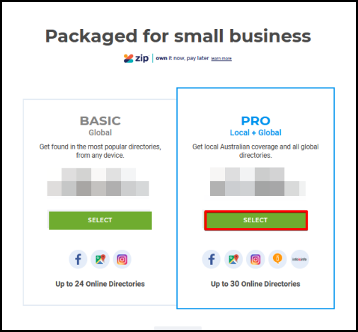 choose business directory plan package