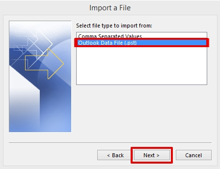 importing data in Outlook 2013 step 4