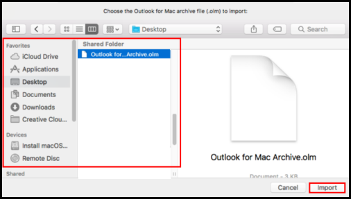 locate to be imported files in outlook for mac window