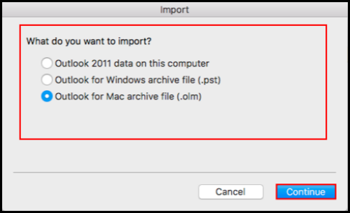 importing data files in outlook for mac