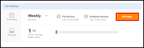 manage button for site backup tool