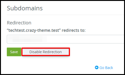 disable redirection option to subdomain cpanel