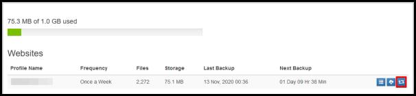restore button on site backup dashboard
