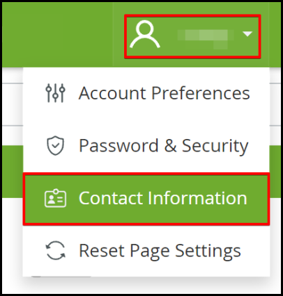 control panel setting up hosting notification drop-down option