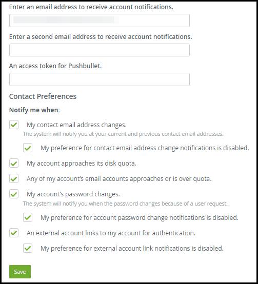 notifications lists settings on cpanel hosting manager