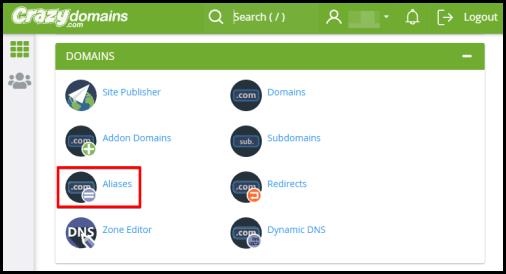 aliases option on cpanel via hosting manager