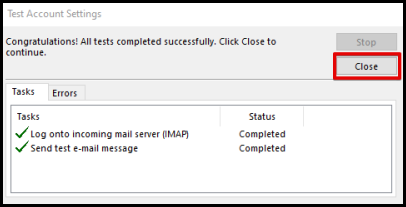 complete set up email confirmation window