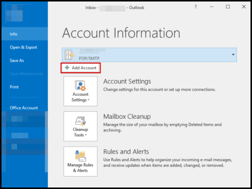Add Account option to start setting up premium email on outlook