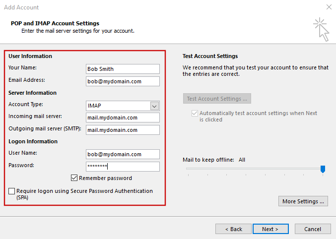 setting up outlook 2016 to check email step 5