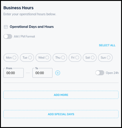 business hours and operational days input form for business directory settings