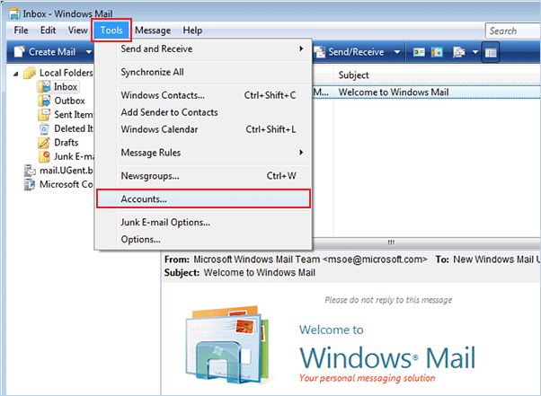 setting up vista to check email step 2
