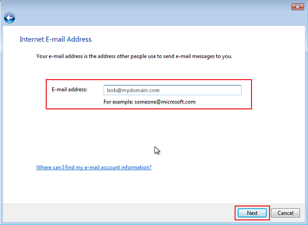 setting up vista to check email step 6