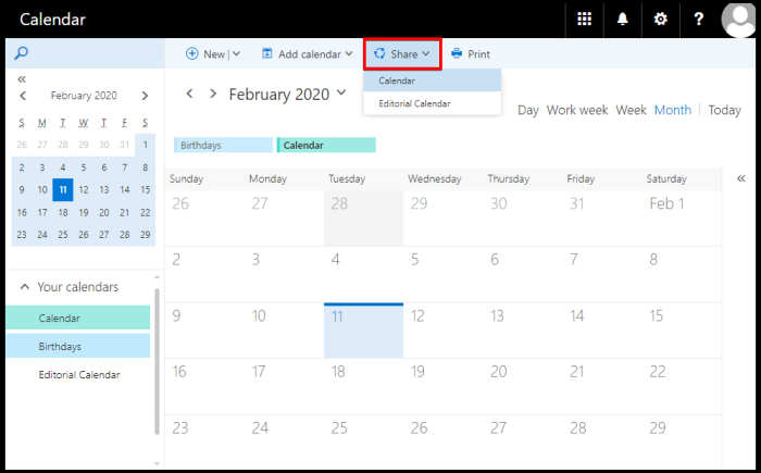 share calendar on owa through invitation