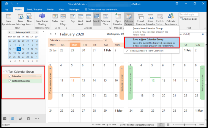Create Group Calendares based on Selected Calendars on Outlook