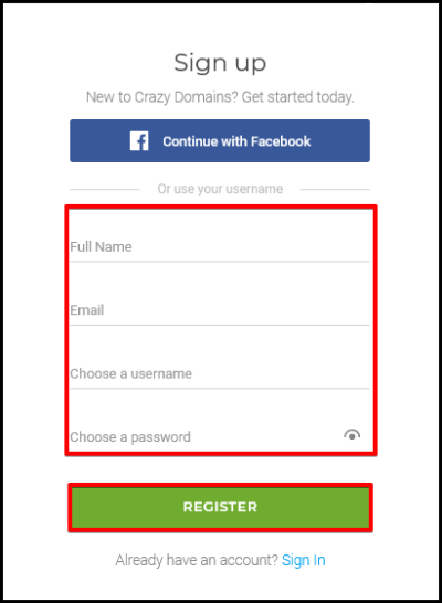 registration form details for new account