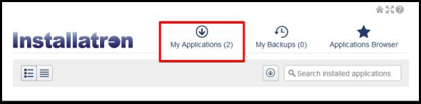my application tab on installatron page