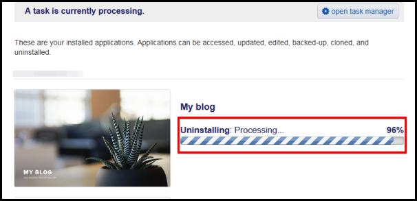 progress bar showing uninstallation progress