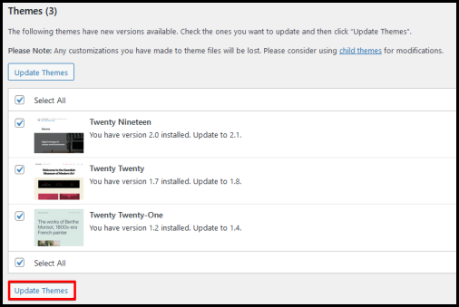 update selected themes via WordPress Dashboard