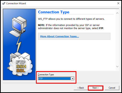 WS_FTP set up connection type