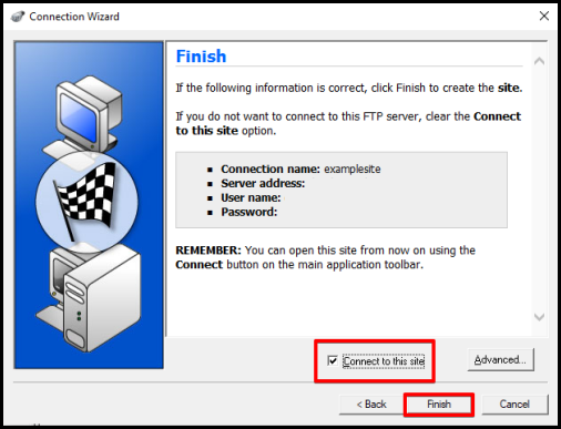WS_FTP finish setting up ftp server connection