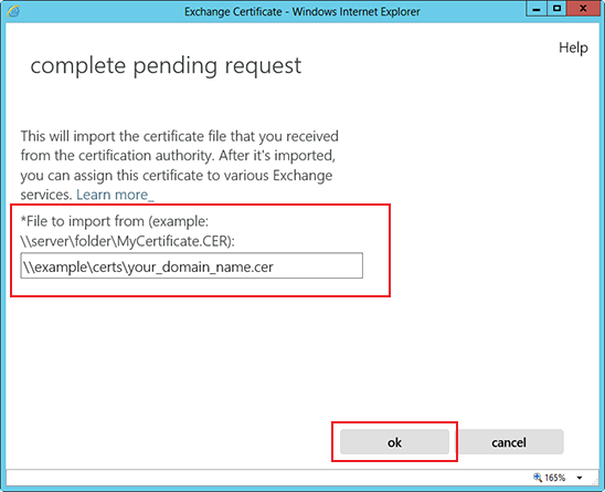 Install an SSL Certificate on an Exchange 2013 server step 7