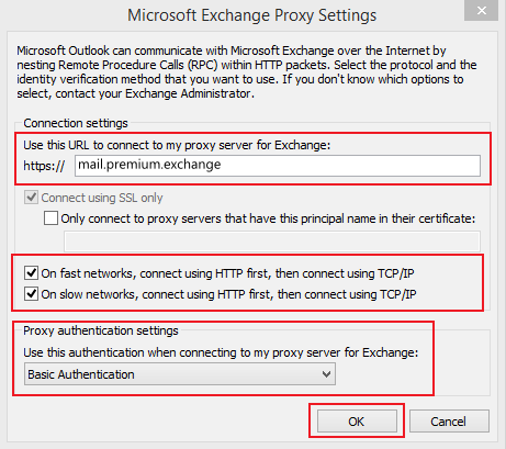 Set up Email Exchange using Outlook 2010 instructions step 9