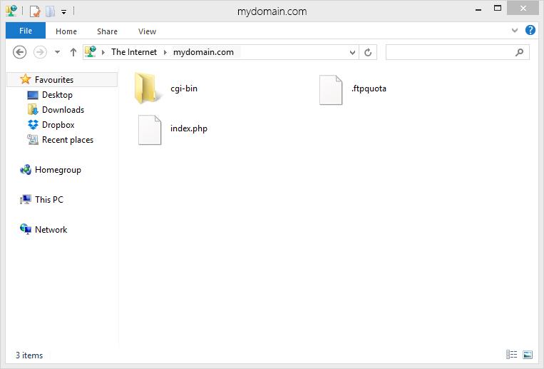 using windows 7 to upload showing cgi-bin folder and index files