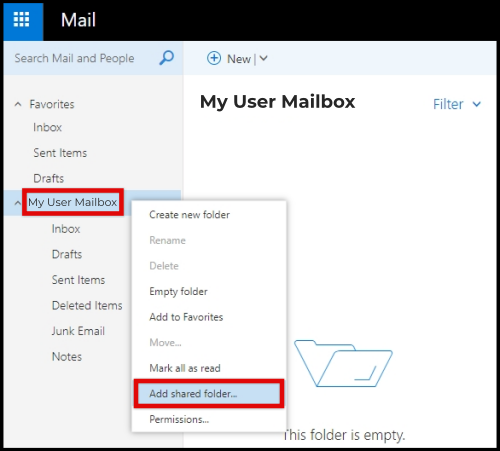 shared mailbox owa access step 2