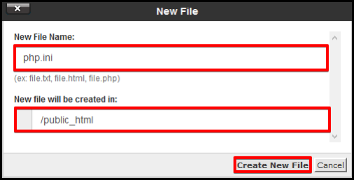 pop up window to create a php.ini file in root directory